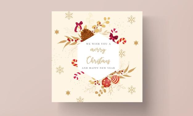 Lujoso diseño de tarjeta de feliz navidad dorado y rojo