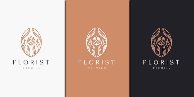 Lujoso floral con plantilla de diseño de icono de logotipo de estilo de línea