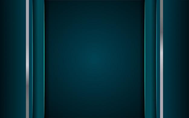 Lujoso fondo azul oscuro con una combinación de línea metálica plateada en estilo 3d