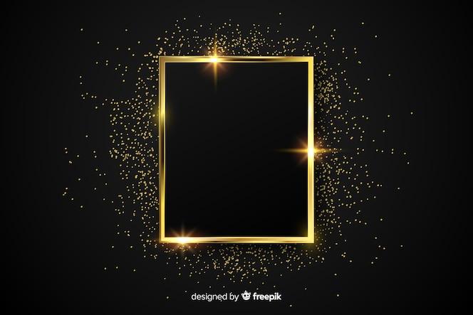 Lujoso fondo con marco dorado brillante