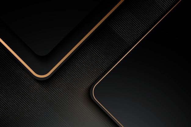 Lujoso fondo negro con una combinación de oro brillante en un estilo 3d