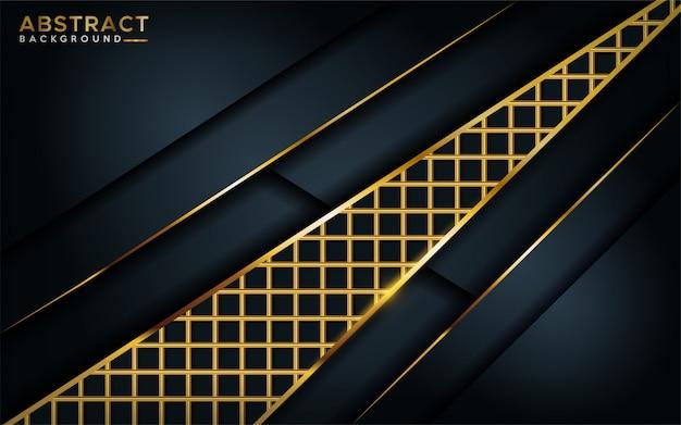 Lujoso fondo oscuro con elemento de línea dorada.
