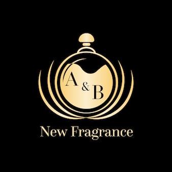 Lujoso logo de perfume dorado