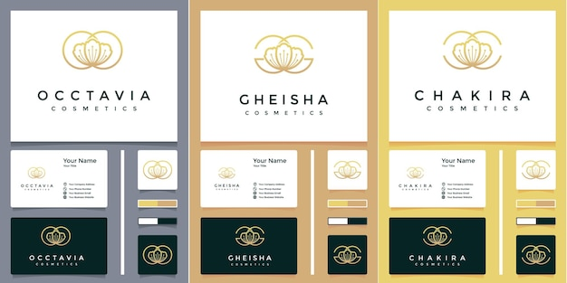Lujoso logotipo de letra o, g y c de flor rosa con diseño de tarjeta