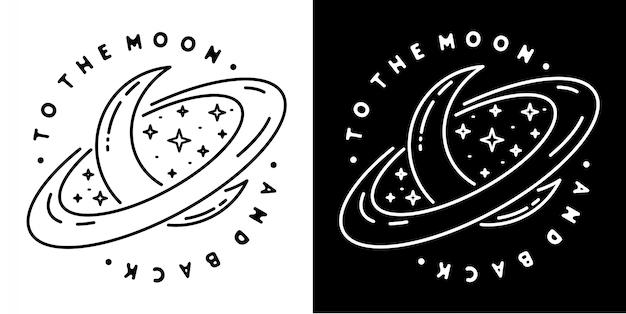 A la luna y al diseño de la insignia posterior