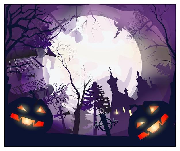 Luna con árboles, tumbas, casa y calabazas alrededor.