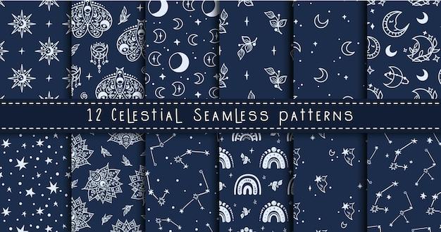 Luna en blanco y negro celestial, arco iris, paquete de patrones sin fisuras de estrellas