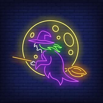 Luna y bruja volando en escoba de neón