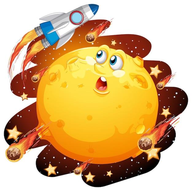 Luna con cara feliz en el tema de la galaxia espacial sobre fondo blanco