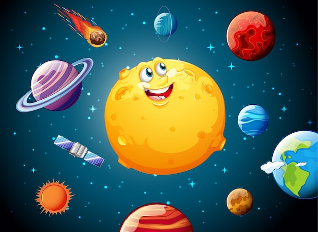 Luna con cara feliz en el tema de la galaxia espacial.