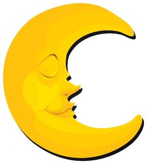 Luna con cara sobre fondo blanco