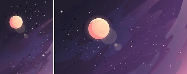 Luna en cielo estrellado. paisaje espacial en orientación vertical y horizontal.
