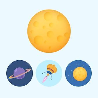 Luna. conjunto de 3 iconos de colores redondos, saturno, icono de planeta, nave espacial de icono, ovni, luna con estrellas, ilustración vectorial