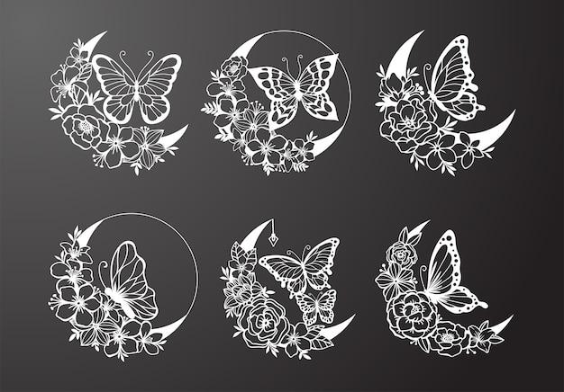 Luna creciente con decoración de estilo floral y mariposa