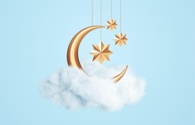 Luna creciente, estrellas doradas y nubes blancas estilo 3d aislado sobre fondo azul. sueño, canción de cuna, diseño de fondo de sueños para banner, folleto, cartel. ilustración de vector eps10