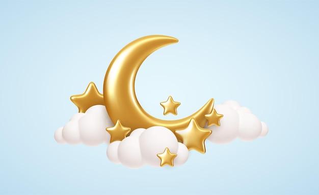 Luna creciente, estrellas doradas y nubes blancas estilo 3d aislado sobre fondo azul. sueño, canción de cuna, diseño de fondo de sueños para pancarta, folleto, póster. ilustración de vector eps10