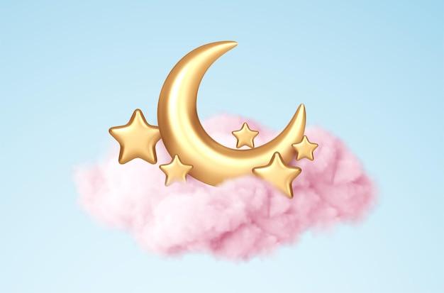Luna creciente, estrellas doradas y nubes rosadas estilo 3d aislado sobre fondo azul. sueño, canción de cuna, diseño de fondo de sueños para pancarta, folleto, póster. ilustración de vector eps10