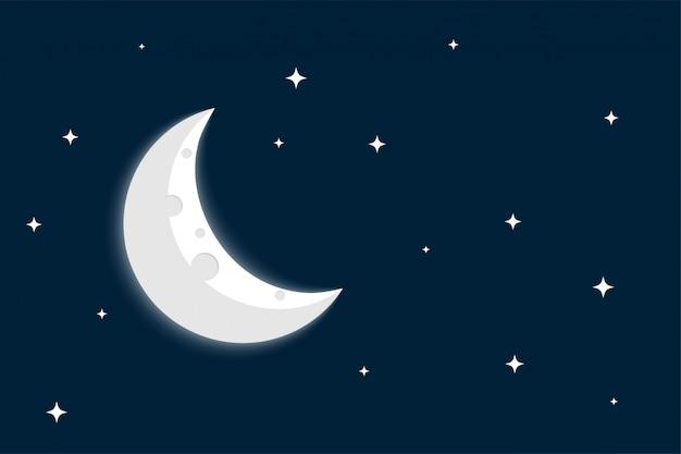 Luna creciente y estrellas sobre fondo de cielo despejado