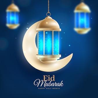 Luna creciente y luz azul realista eid mubarak
