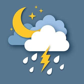 Luna creciente con nube de lluvia y relámpago. tiempo de corte de papel. tiempo de tormenta. gotas de lluvia en el cielo oscuro, estrellas y truenos.