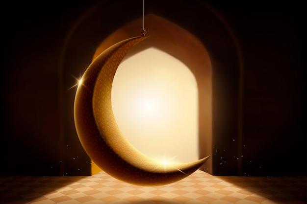 Luna creciente retroiluminada que cuelga en la mezquita en la ilustración 3d