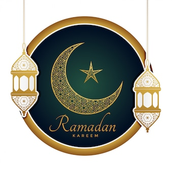 Luna decorativa con lamparas para ramadan kareem.