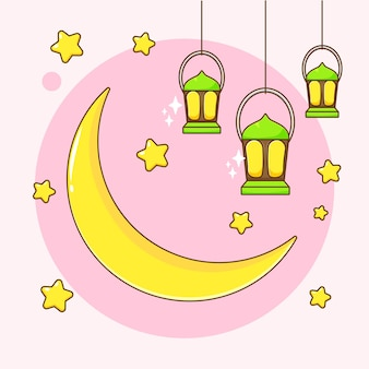 Luna de dibujos animados y linterna ramadan kareem