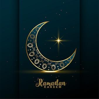 Luna dorada decorativa ramadan kareem fondo