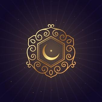 Luna dorada y marco floral