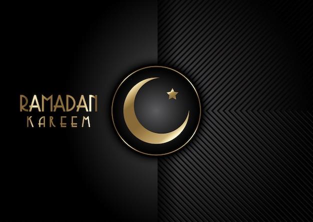 Luna dorada silueta fondo de ramadán