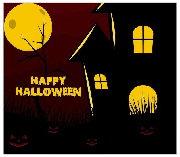 Luna de halloween y plano de fondo de casa espeluznante