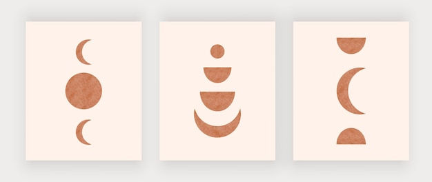 Luna con impresiones de arte de pared de sol. carteles de diseño boho de mediados de siglo