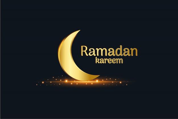 Luna islámica dorada y ramadan kareem escrito con fondo negro