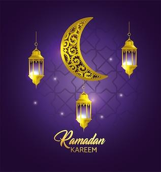 Luna con lámparas colgantes para celebración de ramadan kareem.