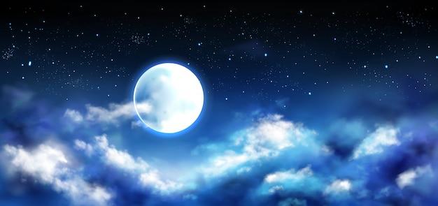 Luna llena en el cielo nocturno con estrellas y nubes escena