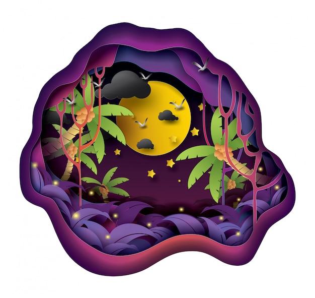 Luna llena en la noche en el bosque, el arte en papel y el estilo artesanal.