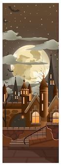 Luna llena entre nubes oscuras en la ilustración de la ciudad
