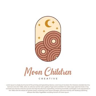 Luna logo creativo luna estrella y círculo icono vector sobre fondo de cápsula