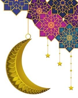 Luna menguante con estrellas colgantes