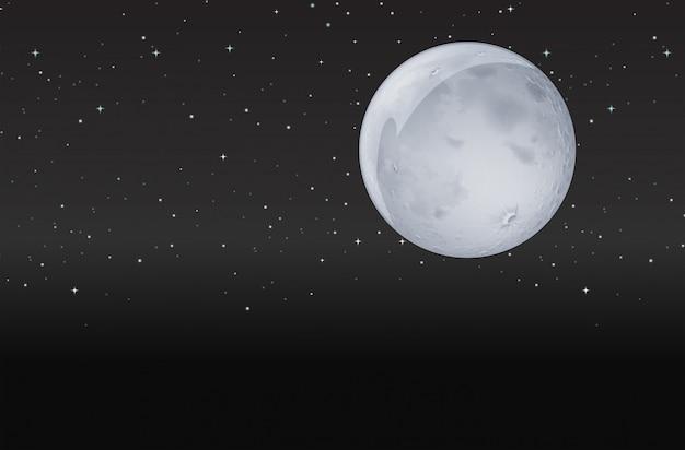 Luna en la noche oscura