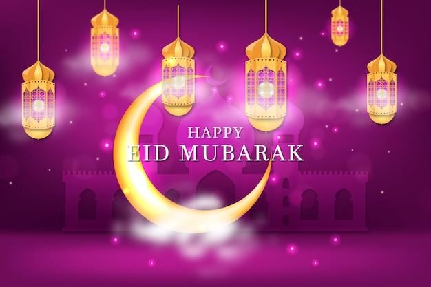 Luna en noche violeta realista eid mubarak