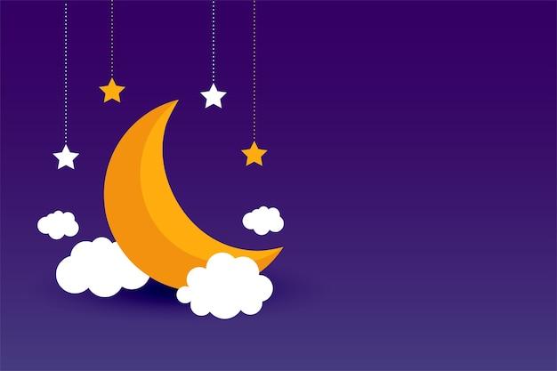 Luna nubes y estrellas diseño de fondo púrpura