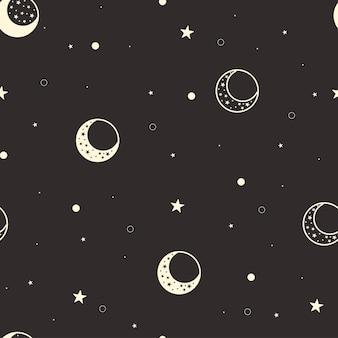 Luna de patrones sin fisuras. fondo negro celeste. cubierta de estrellas y luna creciente amarilla. fase lunar. ilustración vectorial.