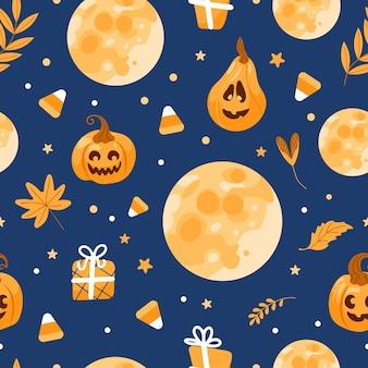 Luna de patrones sin fisuras de halloween, sombrero de bruja, linterna de gato, dulces, hojas de otoño. sobre un fondo azul. ilustración brillante en estilo de dibujos animados. para papel tapiz, impresión en tela, envoltura, fondo