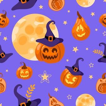 Luna de patrones sin fisuras de halloween, sombrero de bruja, linterna de gato, estrella y hojas. sobre un fondo morado. estilo de dibujos animados de ilustración brillante. para papel tapiz, impresión en tela, envoltura, fondo.