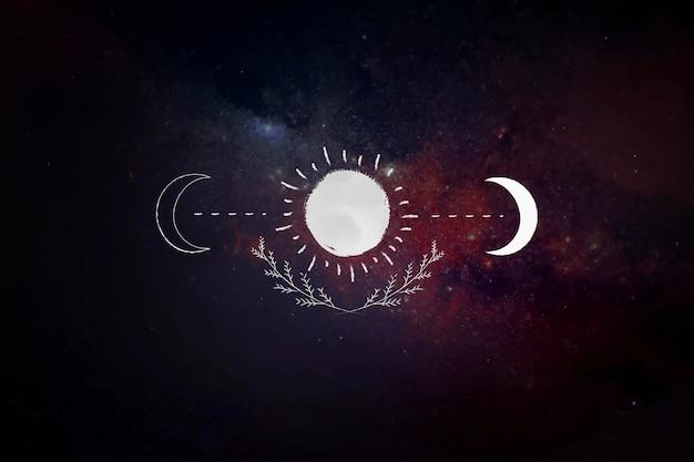 La luna y el sol sobre un fondo de galaxia.