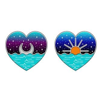 Luna y sol vista al mar monoline