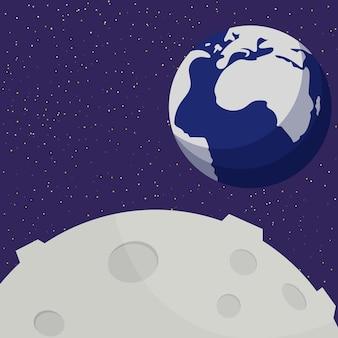 Luna y tierra. sistema solar, espacio. ilustración vectorial plana