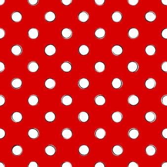 Lunares blancos retro con contorno negro sobre fondo rojo. patrón sin costuras