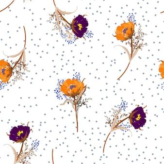 Lunares soplando flores del prado vector de patrones sin fisuras
